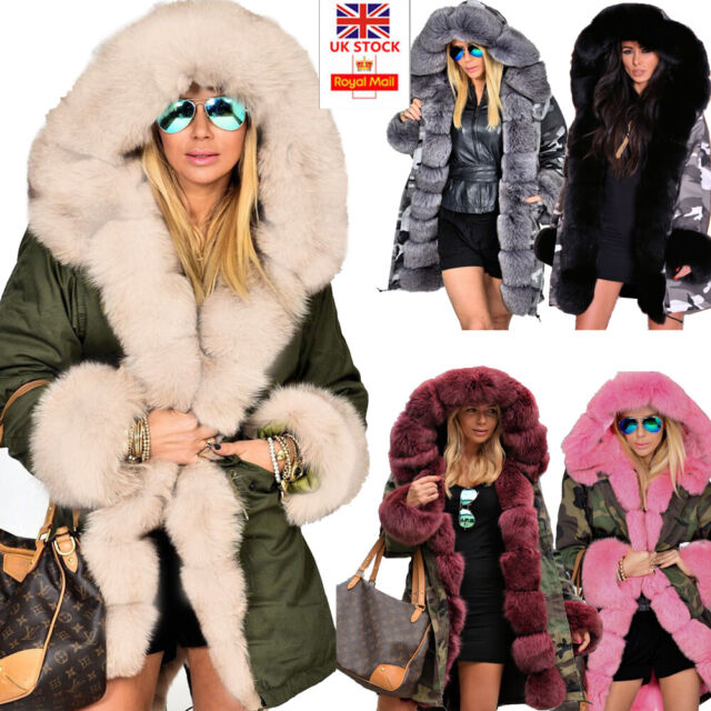 fe43cad34 Roiii Women Ladies Winter Long Warm Thick Parka Faux Fur Jacket Hooded Coat  8-20