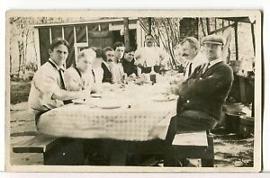 RPPC-Large-Gathering-of-Men-Eating-at-a-Big-Outdoor-Table-1915-1930-Postcard
