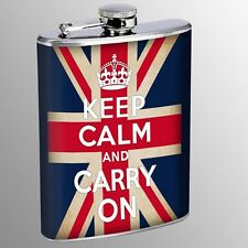 Flask 8oz Stainless Steel Keep Calm and Carry On UK Flag D 10 Drinking Whiskey
