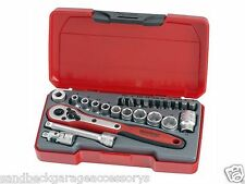 """TengTools 24pc 1/4""""dr Socket Set Supplied in a snap lock case T1424 Quality Set"""