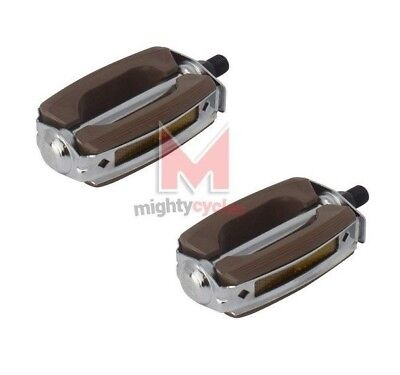 "Bicycle Krate Pedals 9//16/"" Black /& Chrome Lowrider Cruiser Bow Style Bicycle"