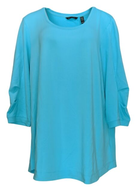 H by Halston Women's Plus Sz Top 2X French Terry Scoop-Neck Tunic Blue A352995
