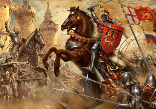 Medieval Knights and Horses Fighting on the Battlefield Picture Framed Print