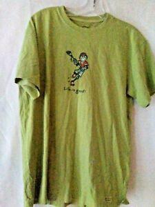 Life-is-good-Men-039-s-S-Pea-Green-Short-Sleeve-T-Shirt-Jake-Playing-Hockey-Cotton