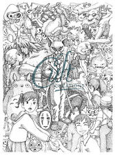 Studio Ghibli inspired  fan art print Totoro, Spirited Away, Princess Mononoke