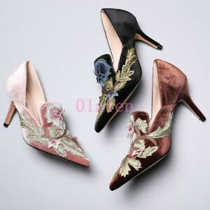 Image is loading Women-Vintage-Pointed-Toe-Embroidery-Floral-Kitten-Heel-