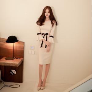 Elegante vestito abito corto bianco spacco tubino maniche lunghe comodo 3389