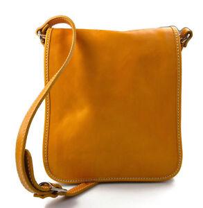 43251af6b1 Caricamento dell'immagine in corso Tracolla-pelle-uomo-donna-giallo-borsa- pelle-borsello-
