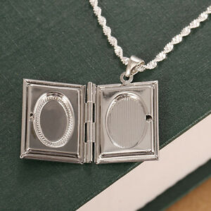 925-Solid-Silver-Photo-Frame-Floating-Locket-Book-Pendant-Chain-Necklace-Jewelry