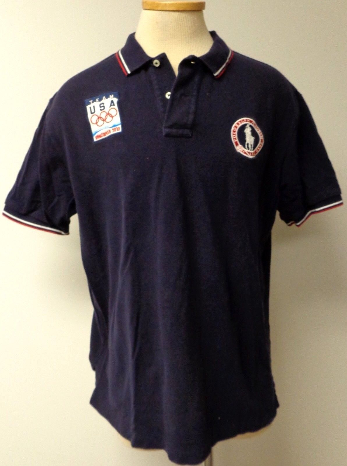 POLO RALPH LAUREN TEAM USA NAVY blueE POLO SHIRT 2010 VANCOUVER OLYMPICS PATCH XL