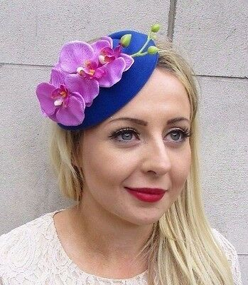 Red Navy Blue Orchid Flower Pillbox Hat Fascinator Races Headpiece Clip Vtg 3434