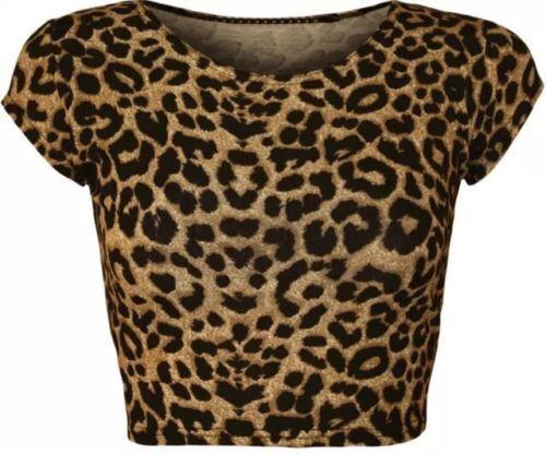 WOMENS LADIES CASUAL CAP SLEEVE PRINT PATTERN CROP JERSEY T SHIRT TOP 8-14,ASH