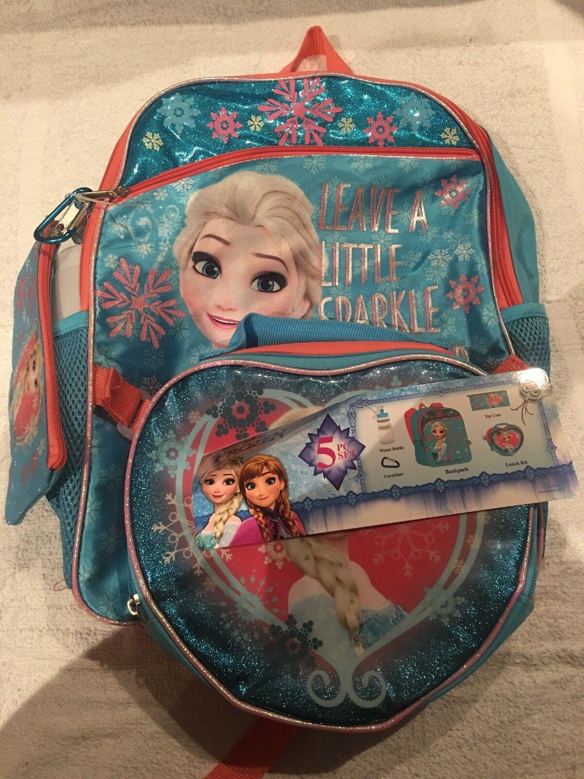 """5pc Set Disney Moana 16/"""" Backpack Carabiner Pencil Case H2O Bottle Lunch Bag"""