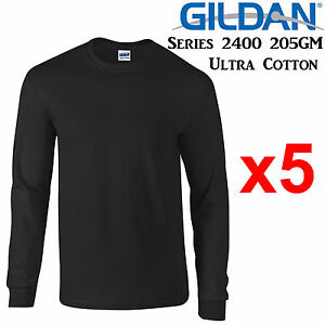 Gildan-Long-Sleeve-T-SHIRT-Black-blank-plain-tee-S-5XL-Men-039-s-Ultra-Cotton-jumper