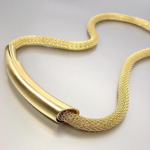 Unique artisanal Lustré Mat Gold Bar médaillon Maille Cordon Collier