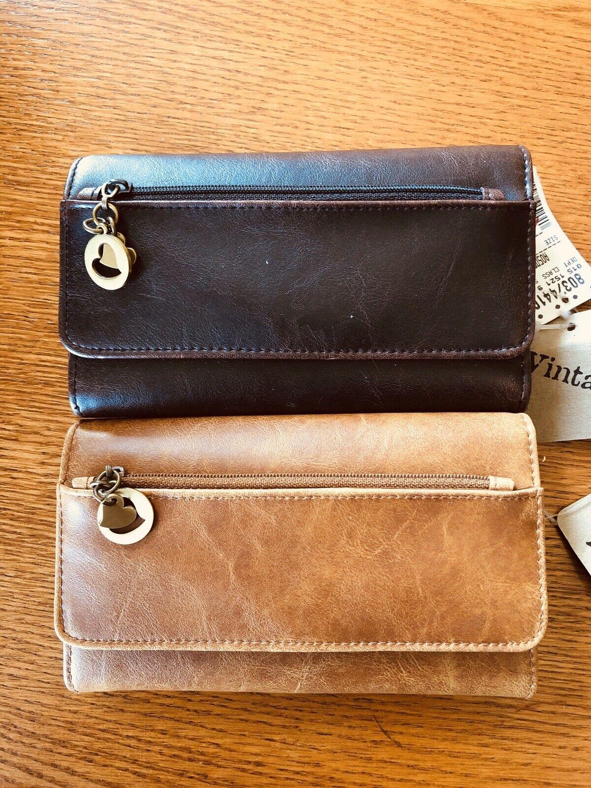 2 Vintage Brand Leather Wallets One Light Brown & One Dark Brown