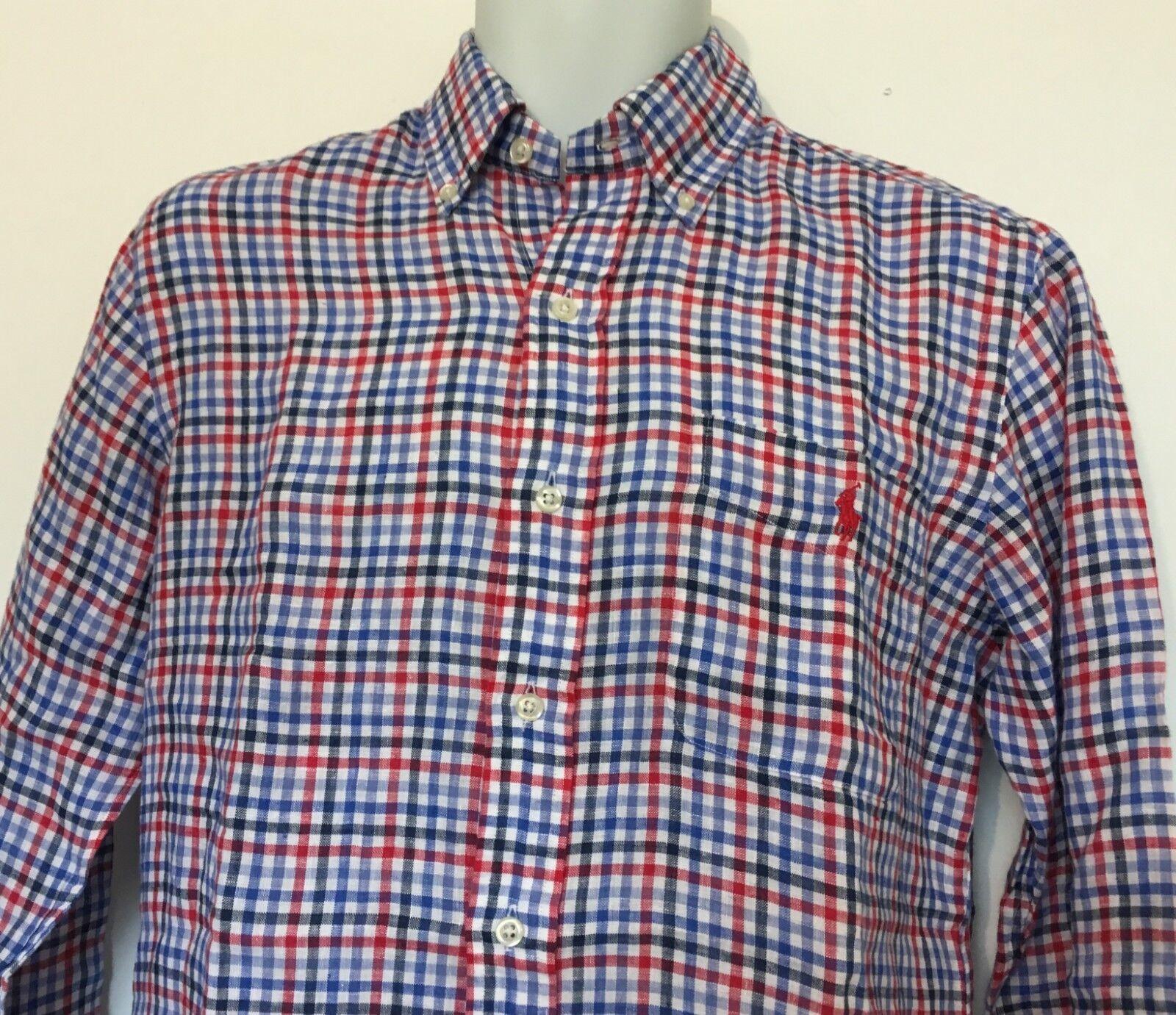4dde57d3 Polo Ralph Lauren Men's Classic Fit Plaid Linen Shirt Red/blue LS Size S