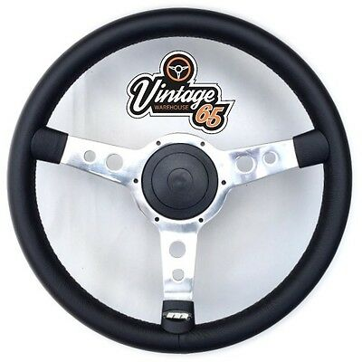 "Retro Classic 13/"" Polished Alloy Black Vinyl Semi Dished Steering Wheel Boss Kit"