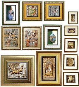13-Stk-Wandrelief-Reiter-Pferd-Reliefbild-WANDBILD-Dekoration-Bild-incl-Rahmen