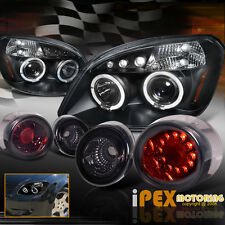 2005-2010 Chevy Cobalt Halos Projector Black Headlights + LED Smoke Tail Light