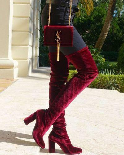 Zara Nuevo Borgoña Terciopelo Rojo sobre la rodilla Taco Alto botas 5008 101 US 6.5