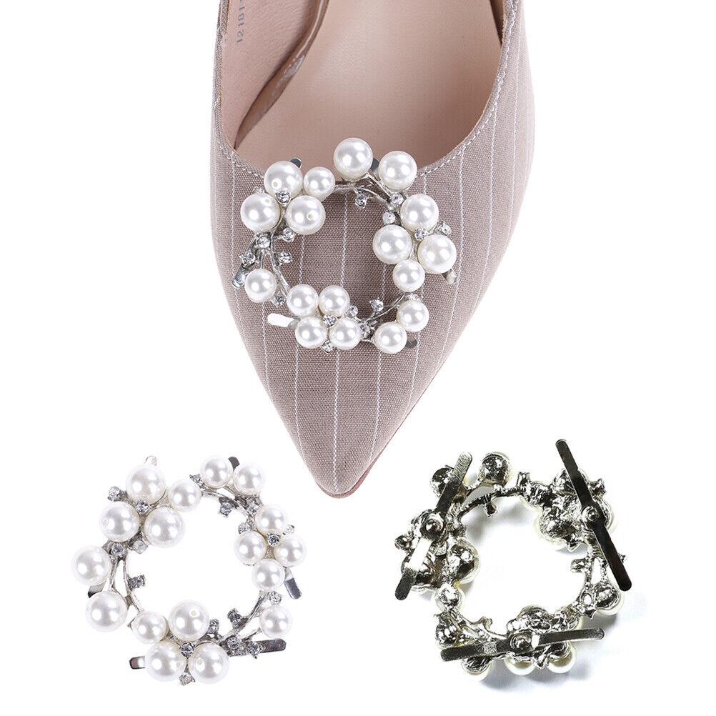 1Pc faux pearl rhinestones metal bridal women prom shoes clip buckle decor 'PX