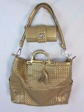 Joy Mangano JM Gold Convertible Purse Extra Large Tote & Small Bag Set - BP5