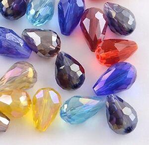 50-Boehmische-Glasperlen-8mm-Tropfen-Glasschliff-Bunt-Kristall-Schmuck-BEST-X198