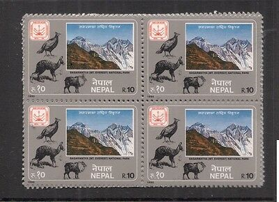 Intellective Nepal Sg 455 Block Of 4 Mount Everest Mnh 8ddx Top Watermelons