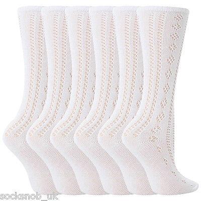 6 Pairs Girls White Fancy Pelerine Knee High Socks (4-6 years)