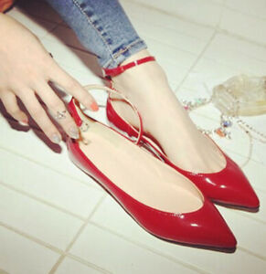 Super-Large-size-flats-shoes-womens-pointed-toe-shiny-patent-leather-buckle-lady