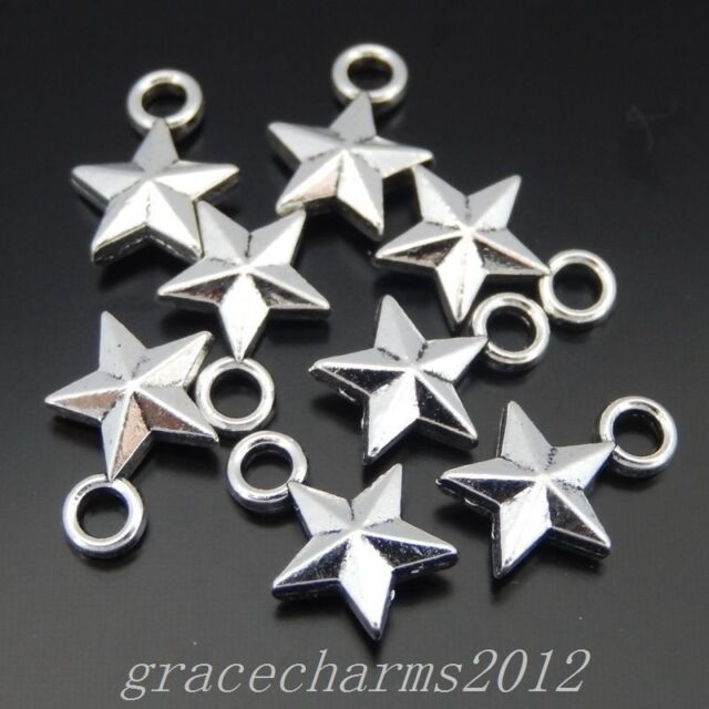 200pcs Vintage Bronze Tone Stars Shaped Charms Pendants Jewelry Findings 37702