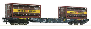Roco-H0-76737-Containertragwagen-CEMAT-mit-Bertschi-Tankcontainern-NEU-OVP