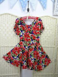 VINTAGE-floral-red-tea-dress-40-style-fit-amp-flare-festival-boho-skater-S-M