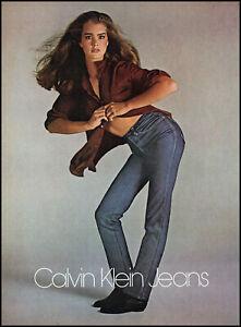 1981 Brooke Shields sexy open shirt photo Calvin Klein Jeans retro print ads30