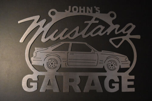 Mustang Fox Body 3rd Generation Steel Metal Garage Sign Any Name On Top