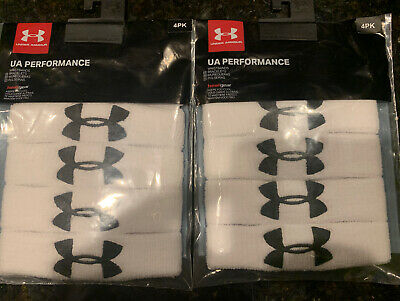 "UNDER ARMOUR UA 1"" Performance Athletic Wristband 4-Pack White NEW"