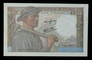 1943-France-10-Francs-World-Foreign-Banknote-Currency-P-99b-High-Grade-145