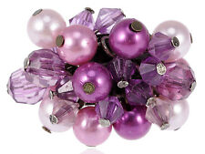 Metallic Cluster Purple Violet Beads Pearls Adjustable Fashion Costume Fun Ring