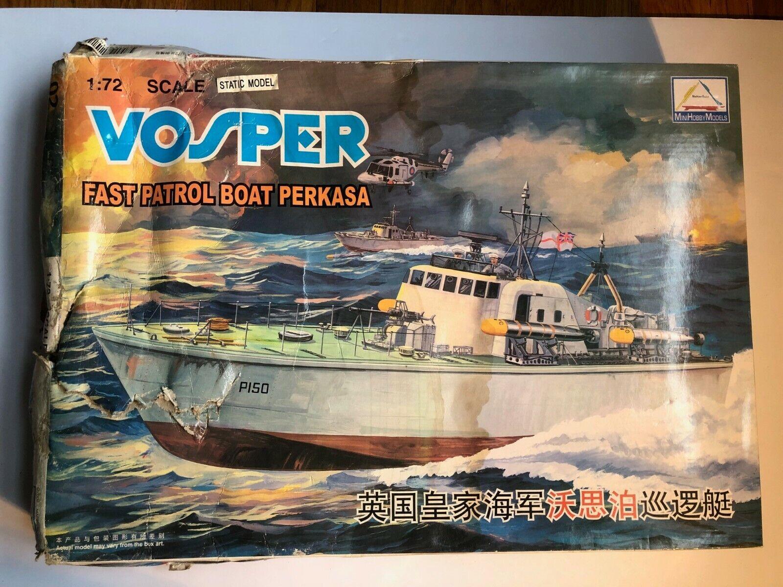 Mini Hobby Vosper 1 72 Patrol Boat Perkasa ,Damaged Box, Sealed Parts, No Motor