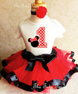 Minnie Mouse Red Black White Baby Girl 1st First Birthday Tutu