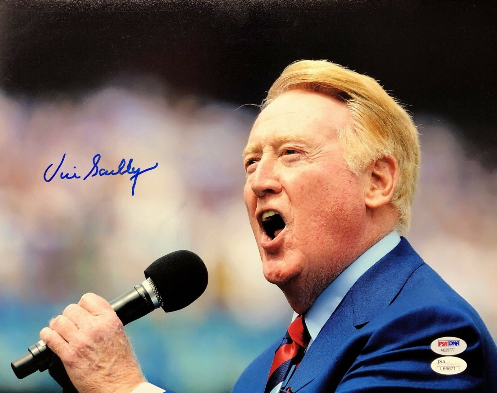 Vin Scully Signed Los Angeles Dodgers 11x14 Photo *Announcer PSA/JSA