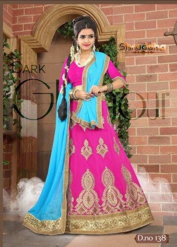 Lehenga Bollywood Lahenga semi Bridal Indian gestikt Pakistaans roze Sari Saree qnfpv