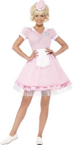 Ladies 1950s 50s American Diner Girl TV Movie Fancy Dress Costume Outfit UK 4-18