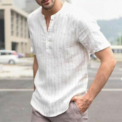 Men Loose V-Neck Long Sleeve Cotton Casual Shirt Collar Linen T-shirt M-2XL Tops