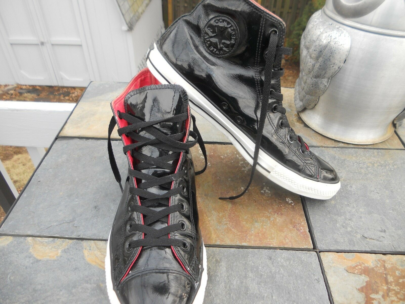 Converse Chuck Taylor Black Patent Leather High-Top shoes Mens Size 11.5 NICE