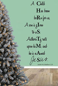 Christmas Bible Quotes.Details About Christmas Bible Quote Unto Us A Child Is Born Wall Art Stickers Mural Decal