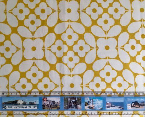 FQ 50 cm carrés Orla Kiely fleur carreau jaune tissu de coton NOUVEAU