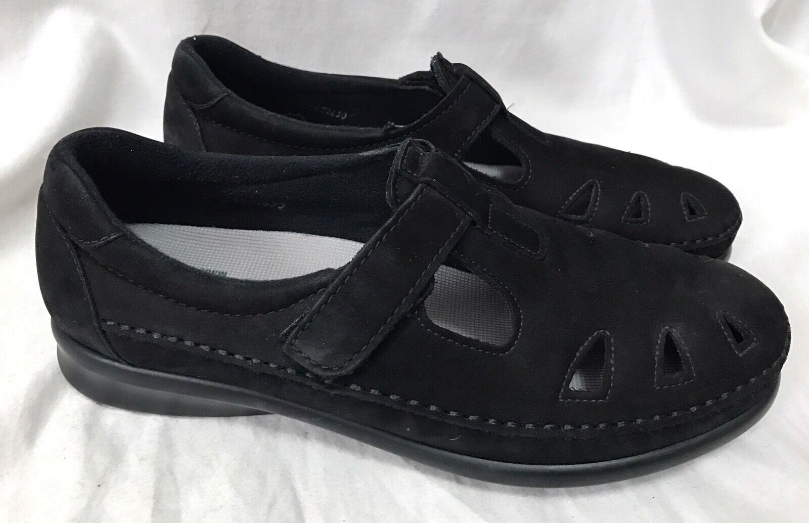 SAS Roamer Black Suede Loafers 9M Moc Toe Tripad Comfort Walking shoes