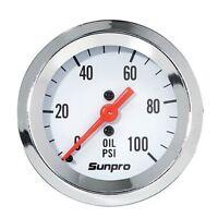 Sunpro Gauge Oil Pressure, 0-100 Psi, 2analog, Mechanical Ford Chevrolet Mopar